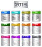 Calendario de 2015 españoles Imagenes de archivo