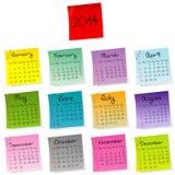 calendario de 2014 etiquetas engomadas Foto de archivo libre de regalías