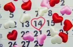Calendario 14 de febrero, día del ` s de la tarjeta del día de San Valentín Fotografía de archivo