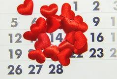 Calendario 14 de febrero, día del ` s de la tarjeta del día de San Valentín Foto de archivo libre de regalías