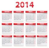 Calendario de 2014 franceses Foto de archivo