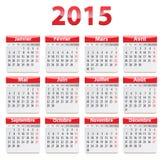 Calendario de 2015 franceses Imagenes de archivo