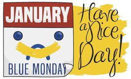 Calendario de hojas sueltas con la sonrisa pintada para Niza Blue Monday, ejemplo del vector ilustración del vector