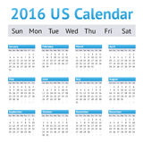 Calendario de 2016 ingleses americanos de los E.E.U.U. Comienzo de la semana el domingo fotografía de archivo