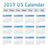 Calendario de 2019 ingleses americanos de los E.E.U.U. foto de archivo libre de regalías