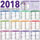 Calendario de 2018 italianos foto de archivo