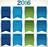 Calendario 2016 de la bandera Imágenes de archivo libres de regalías
