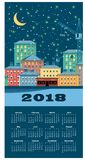 calendario de la ciudad de 2018 inviernos Fotos de archivo libres de regalías
