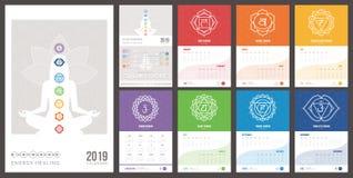Calendario 2019 de la cura y de los chakras del uno mismo stock de ilustración