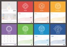 Calendario 2019 de la cura y de los chakras del uno mismo ilustración del vector