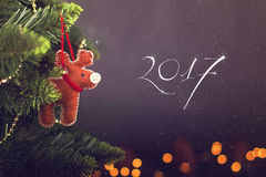 Calendario de la decoración de la Navidad de la tarjeta de felicitación Fotos de archivo libres de regalías