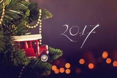 Calendario de la decoración de la Navidad de la tarjeta de felicitación Foto de archivo libre de regalías