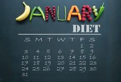 Calendario de la dieta de enero imagenes de archivo