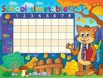 Calendario de la escuela con el gato Foto de archivo libre de regalías