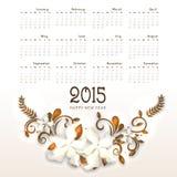 Calendario de la Feliz Año Nuevo 2015 Fotografía de archivo libre de regalías