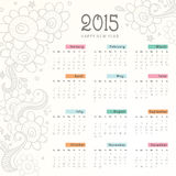 Calendario de la Feliz Año Nuevo 2015 Imágenes de archivo libres de regalías