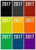 Calendario 2017 de la Feliz Año Nuevo Fotografía de archivo