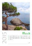 Calendario de la foto con el paisaje minimalista 2015 Imagen de archivo libre de regalías