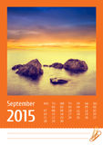 calendario 2015 de la foto septiembre Fotografía de archivo