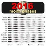 Calendario 2016 de la luna Imagen de archivo libre de regalías