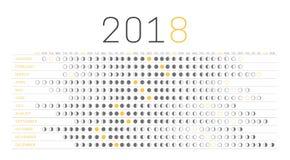Calendario 2018 de la luna Fotos de archivo libres de regalías