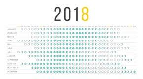Calendario 2018 de la luna Imagen de archivo libre de regalías