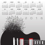 Calendario 2016 de la música con las notas libre illustration