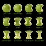 Calendario de la manzana verde Foto de archivo libre de regalías