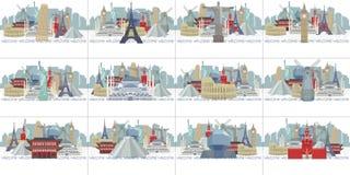 Calendario de la muestra con panoramas de las vistas del mundo stock de ilustración