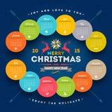 Calendario 2015 de la Navidad Fotos de archivo libres de regalías