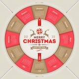 Calendario 2015 de la Navidad Imagen de archivo libre de regalías