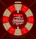 Calendario 2015 de la Navidad Foto de archivo libre de regalías