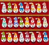 Calendario de la Navidad con los muñecos de nieve Imagen de archivo libre de regalías