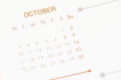 Calendario de la página de octubre fotos de archivo libres de regalías