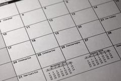 Calendario de la pluma y de la mesa 24 y 25 de diciembre de 2018 Día de la Nochebuena y de la Navidad en calendario Imagen de archivo