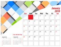 Calendario 2018 de la tabla Imágenes de archivo libres de regalías