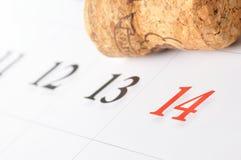 Calendario de la tarjeta del día de San Valentín Fotografía de archivo