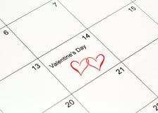 Calendario de la tarjeta del día de San Valentín fotos de archivo libres de regalías