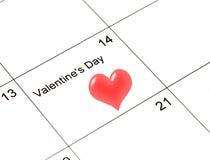 Calendario de la tarjeta del día de San Valentín foto de archivo libre de regalías