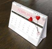 Calendario 2015 de la tarjeta del día de San Valentín de febrero Foto de archivo
