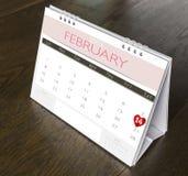 Calendario 2015 de la tarjeta del día de San Valentín de febrero Fotografía de archivo libre de regalías
