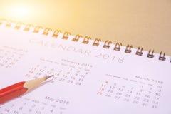 Calendario de la tarjeta del día de San Valentín día del 14 de febrero de 2018 Imágenes de archivo libres de regalías
