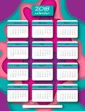 calendario de la vertical del vector de 2018 años Foto de archivo libre de regalías