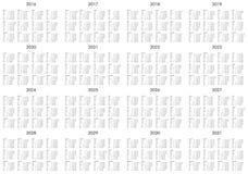 Calendario de los años 2016 a 2031 Imágenes de archivo libres de regalías