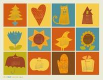 Calendario de los caracteres del color de Scrapbooking Fotos de archivo