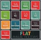 Calendario de los días de fiesta ilustración del vector