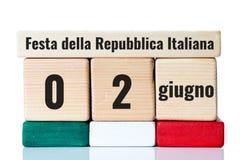 Calendario de madera del Día de la Independencia de Italia Foto de archivo