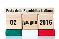 Calendario de madera del Día de la Independencia de Italia Fotos de archivo