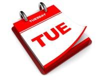 Calendario de martes Imágenes de archivo libres de regalías