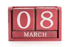 Calendario 8 de marzo Imagen de archivo libre de regalías